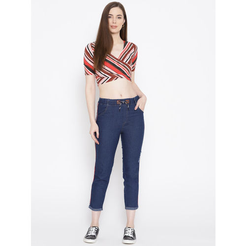 ANTS Women Navy Blue Skinny Fit Solid Distressed Denim Cropped Trousers