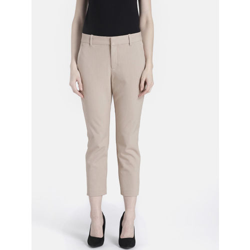 GAP Women Beige Solid Skinny Ankle Pants in Color