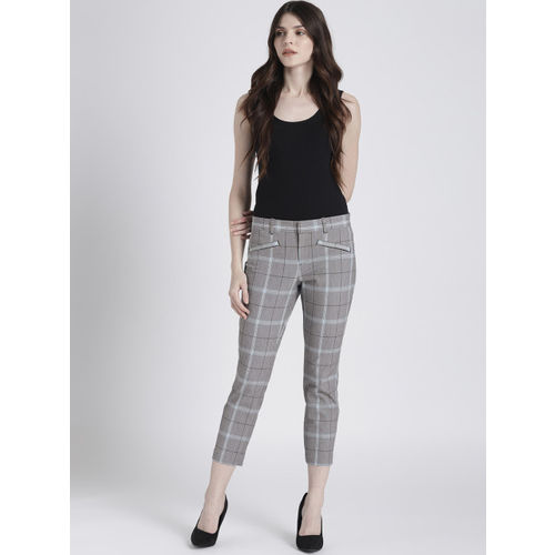GAP Women Grey & Off-White Checked Skinny Ankle Pants