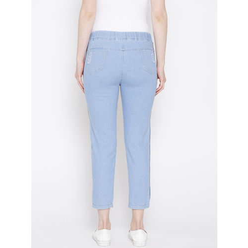 ANTS Women Blue Skinny Fit Solid Distressed Denim Cropped Trousers