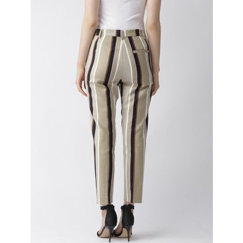 Marks & Spencer Women Beige & Black Slim Fit Striped Regular Cropped Trousers