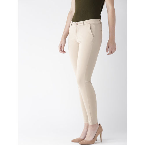 Xpose Women Beige Sharp Tapered Fit Solid Formal Trousers