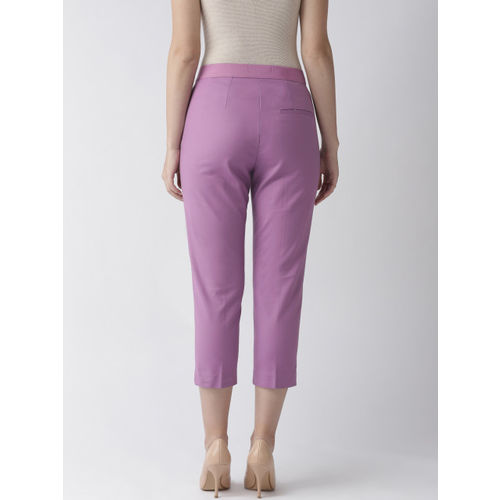 Marks & Spencer Women Purple Slim Fit Solid Regular Cropped Trousers