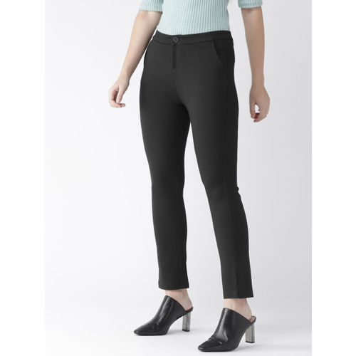 Xpose Women Black Smart Straight Fit Solid Smart Casual Trousers