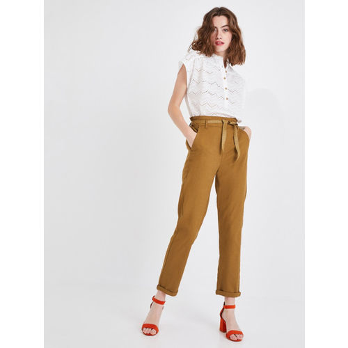 promod Women Camel Brown Regular Fit Solid Cropped Regular Trousers