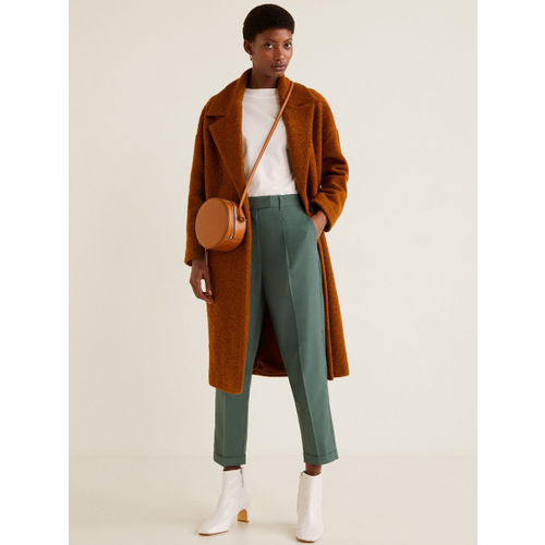 MANGO Women Green Regular Fit Solid Cropped Regular Trousers