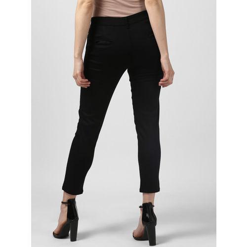 Monte Carlo Women Black Regular Fit Solid Regular Trousers