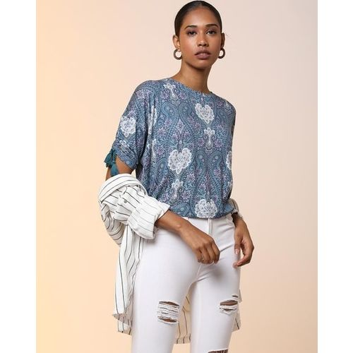 AJIO Paisley Print Top with Adjustable Ruched Sleeves
