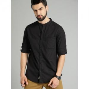 Roadster Black Regular Fit Solid Linen Casual Shirt