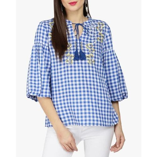 Gipsy Embroidered Checked Top with Tie-Up