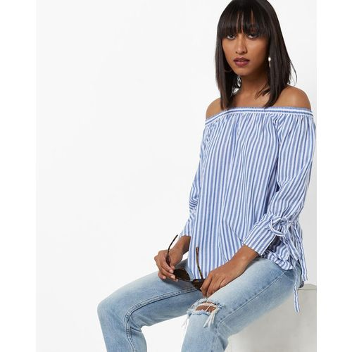 PROJECT EVE WESTERN WEAR Striped Off-Shoulder Top with Tie-Up Sleeves