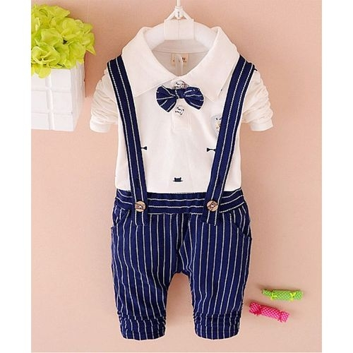 Pre Order - Awabox Full Sleeves Tee With Suspender Striped Pants & Attached Bow Tie - White