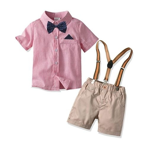 Pre Order - Awabox Half Sleeves Striped Bow Attached Shirt With Suspender Shorts - Pink & Beige