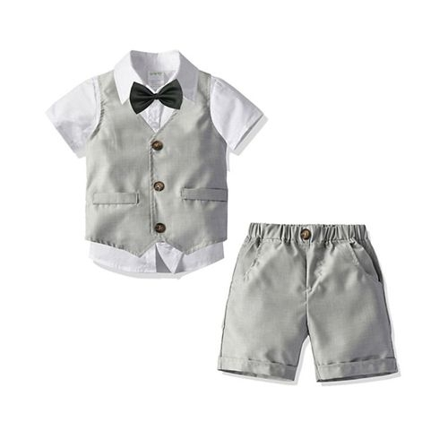 Pre Order - Awabox Half Sleeves Bow Attached Shirt With Waistcoat & Shorts Set - Grey