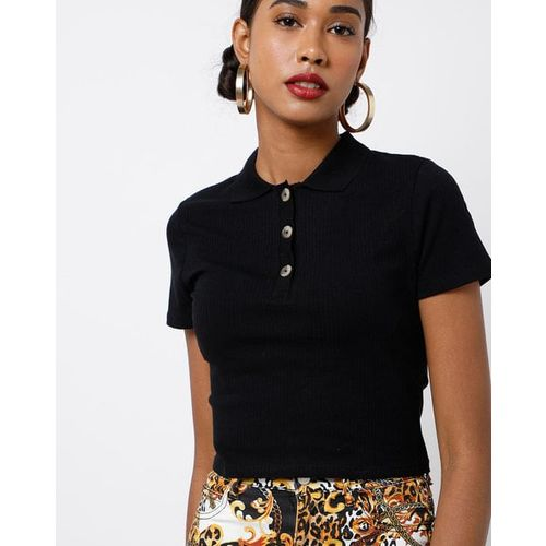 TALLY WEiJL Ribbed Crop Top with Polo Collar