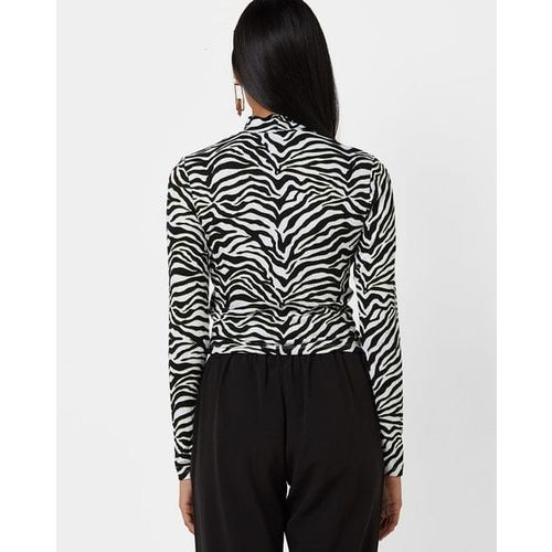 TALLY WEiJL Animal Print Crop Top with Twist Front