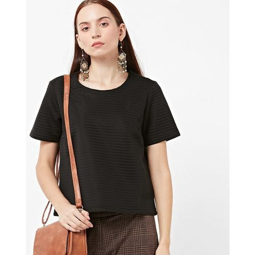 Project Eve WW Casual Striped Scuba Knit Round-Neck Top