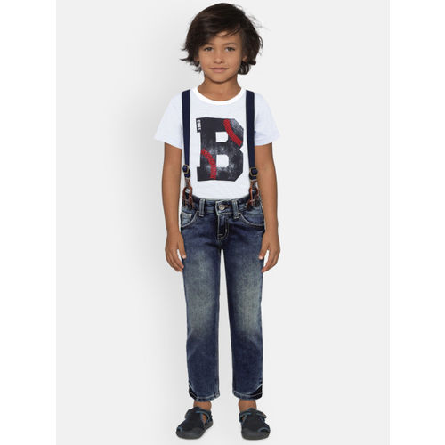United Colors of Benetton Boys Blue Mid-Rise Clean Look Stretchable Jeans with Suspenders