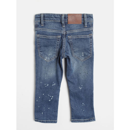 United Colors of Benetton Boys Blue Printed Slim Fit Mid-Rise Clean Look Stretchable Jeans