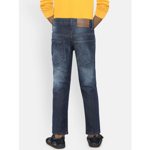 United Colors of Benetton Boys Navy Mid-Rise Mildly Distressed Stretchable Jeans