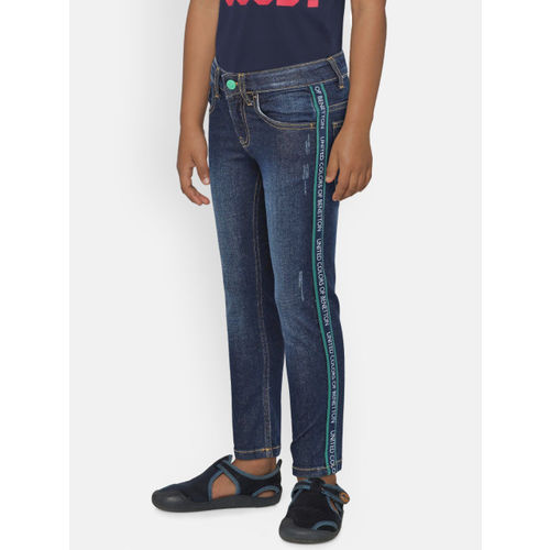 United Colors of Benetton Boys Navy Blue Slim Fit Mid-Rise Low Distress Stretchable Jeans