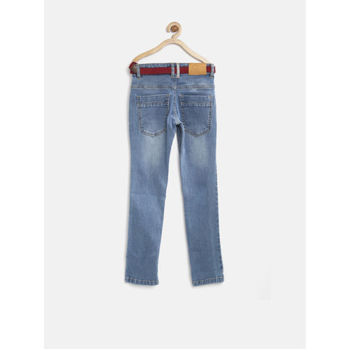 United Colors of Benetton Boys Blue Washed Stretchable Jeans