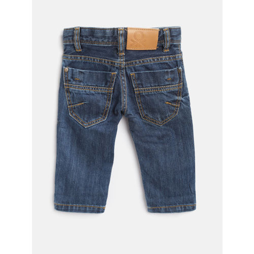 United Colors of Benetton Boys Navy Blue Regular Fit Mid-Rise Clean Look Jeans