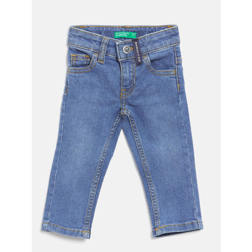 United Colors of Benetton Boys Blue Regular Fit Mid-Rise Clean Look Stretchable Jeans