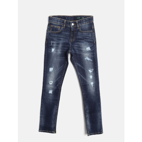 United Colors of Benetton Boys Navy Blue Skinny Fit Mid-Rise Mildly Distressed Stretchable Jeans