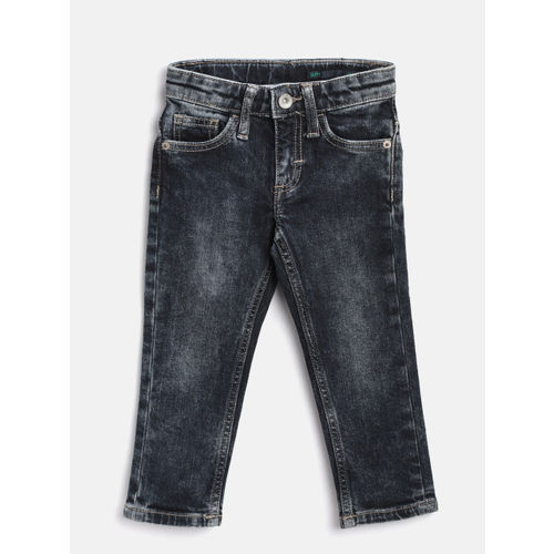United Colors of Benetton Boys Black Slim Fit Mid-Rise Stretchable Jeans