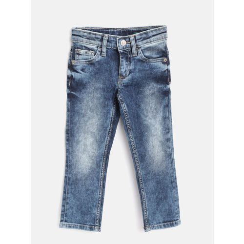 United Colors of Benetton Boys Blue Slim Fit Mid-Rise Clean Look Stretchable Jeans