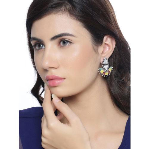 Studio Voylla Silver-Plated & Yellow Enamelled Geometric Drop Earrings