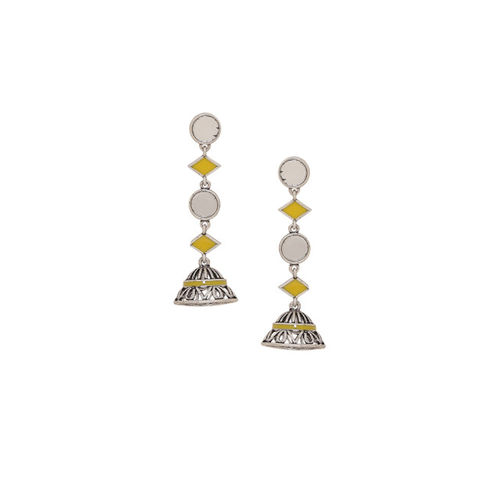 Studio Voylla Silver-Plated & Yellow Enamelled Dome Shaped Jhumkas