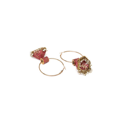 AKS Gold-Toned & Pink Dome Shaped Hoop Earrings