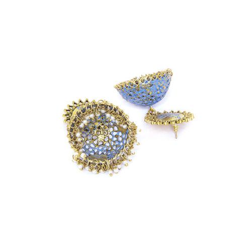AKS Gold-Toned & Blue Gold-Plated Contemporary Jhumkas