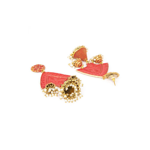 AKS Red & Gold-Plated Handcrafted Contemporary Drop Earrings