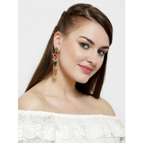 AKS Gold-Plated Handcrafted Contemporary Drop Earrings