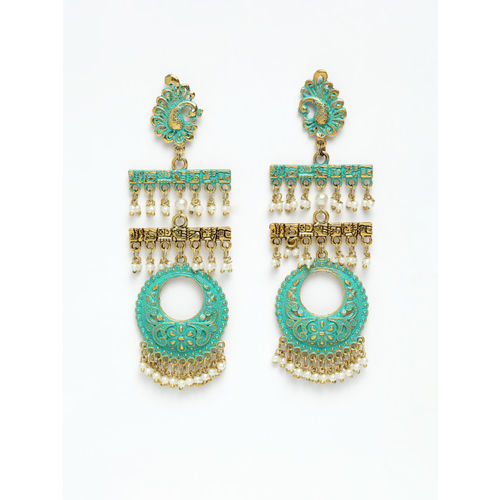 AKS Green & Gold-Plated Classic Drop Earrings