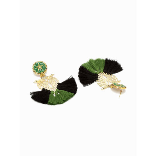 AKS Women Green & Gold-Plated Handcrafted Tasselled Contemporary Drop Earrings