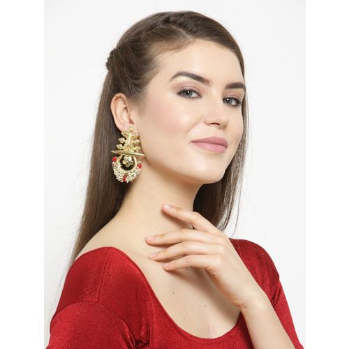 AKS Women Gold-Plated Handcrafted Contemporary Drop Earrings