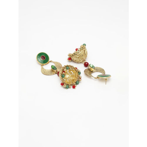 AKS Gold-Plated & Green Dome Shaped Jhumkas