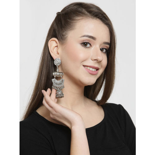 AKS Women Silver-Plated Contemporary Handcrafted Drop Earrings