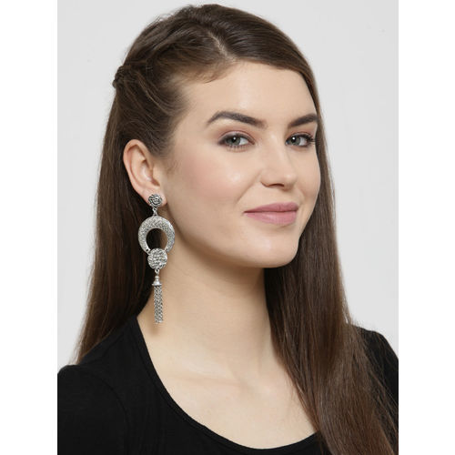 AKS Silver-Toned Crescent Shaped Drop Earrings