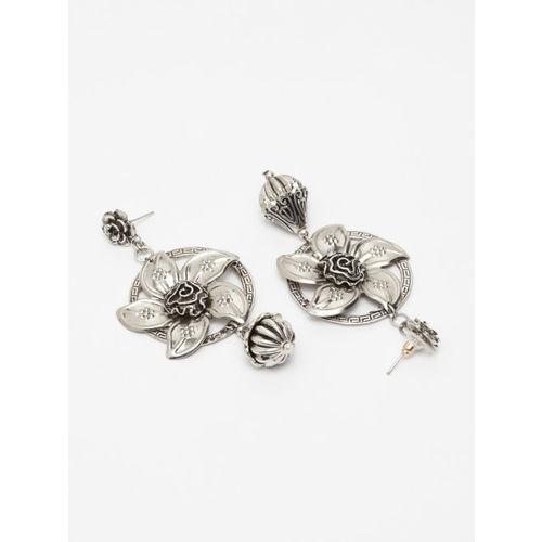 AKS Silver-Toned Contemporary Drop Earrings