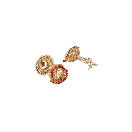 Shining Diva Gold-Toned & Red Classic Jhumkas