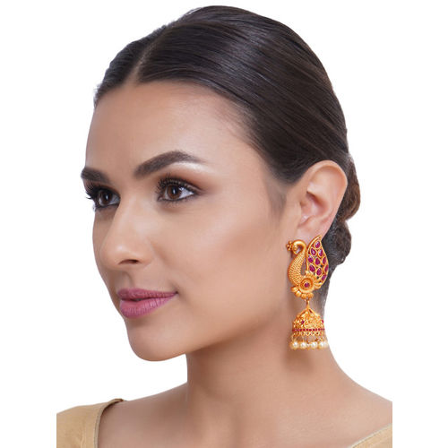 Shining Diva Women Gold-Plated Dome Shaped Jhumkas