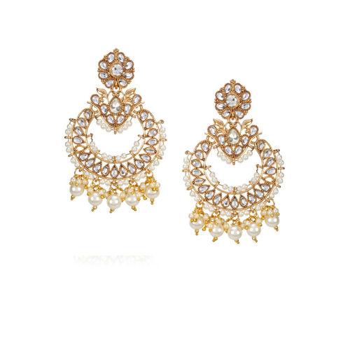 Shining Diva Gold-Plated & White Classic Chandbalis
