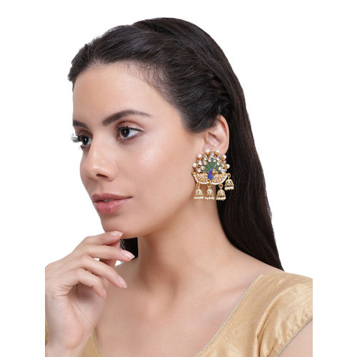 Shining Diva Gold-Plated Antique Dome Shaped Jhumkas