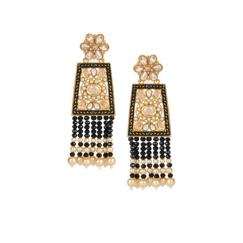 Shining Diva Gold-Plated & Black Antique Classic Drop Earrings