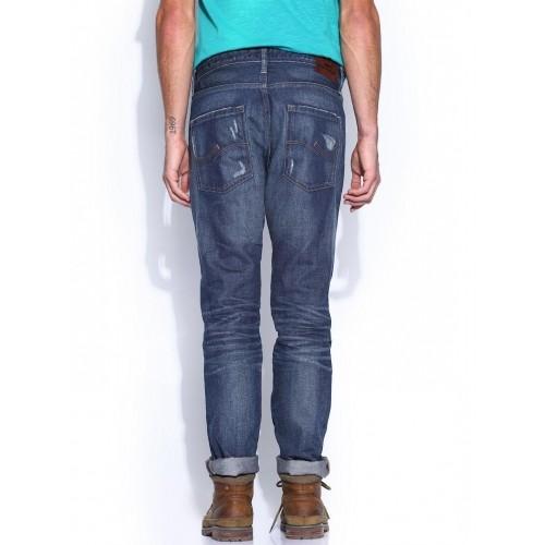 low priced bd49f 83636 Buy Vintage by Jack & Jones Blue Printed Regular Jeans ...